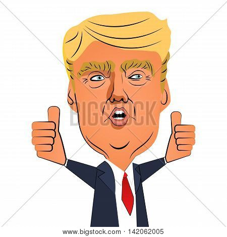 August 10 2016: Character portrait of Donald Trump gives speech shows thumbs up on white background. Positive caricature of a prominent politician who is running for President.