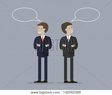 Two businessman with bubble talk. One is smiling and happy and another unhappy and upset. Winner and loser concept. Vector illustration flat design