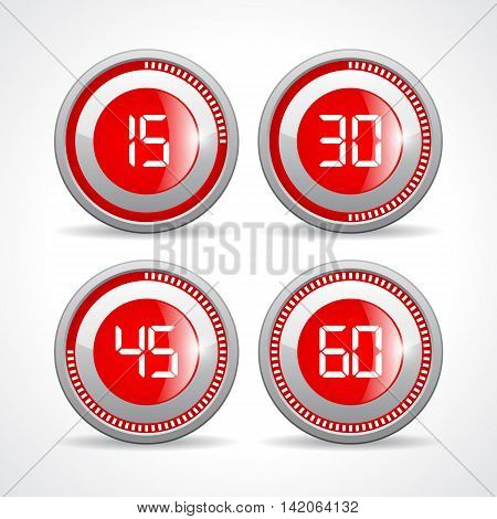 Timers set 15 30 45 60 minutes illustration isolated on white background