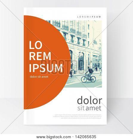 Modern Minimalistic White & red cover Brochure design. Flyer, booklet, annual report cover template.  vector-stock illustration cityscape duotone