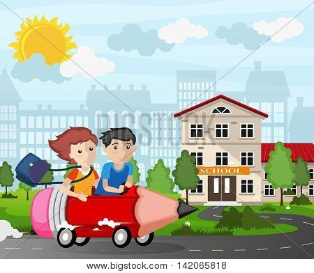 Boy and girl driving a pencil car. Back to school concept illustration