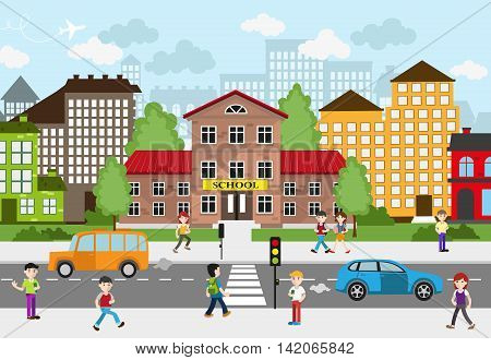 Children going to school on a busy city street. School and other buildings in the background. City landscape. Back to school concept illustration