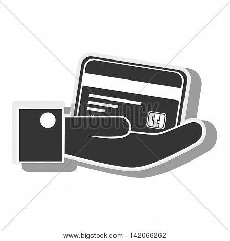 hand card paying credit debit money pay chip transaction plastic  money vector graphic isolated and flat illustration