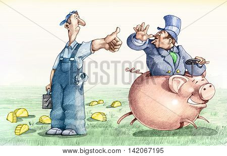 a worker asks for a transition to a patch on a piggy bank but receives only a tease