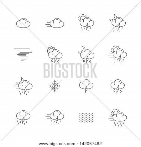 weather gray line icons meteo icons line