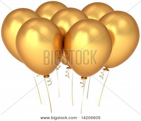 Party balloons golden luxury decoration