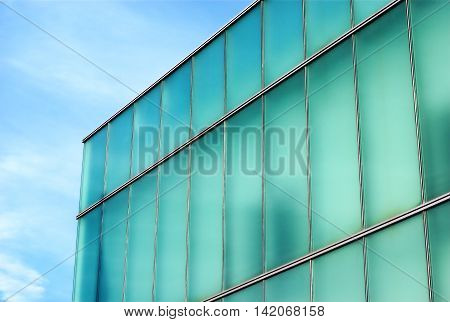 glass building aqua and blue, office place perspective corner