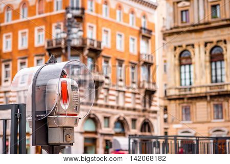 Old call box in the centre of Trieste city in Italy