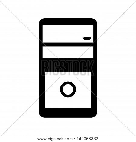 cpu tower box computer case pc technology electronic vector graphic isolated and flat illustration