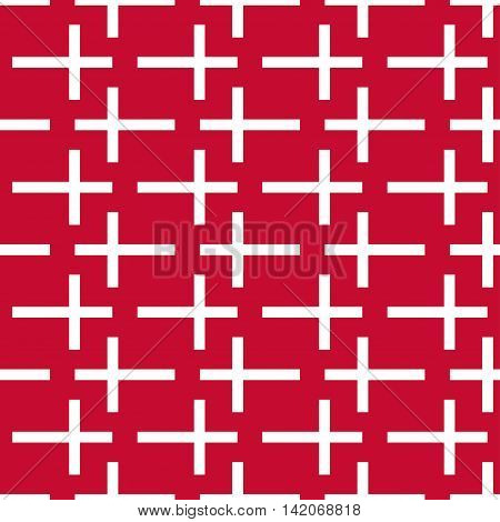 Seamless pattern of stylized flags of Denmark. Constitution or National Day flat seamless pattern. Colors of Danish flag. Happy Constitution day of Denmark background. Minimalism style.