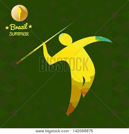 Brazil summer sport card with an yellow abstract spear thrower. Digital vector image