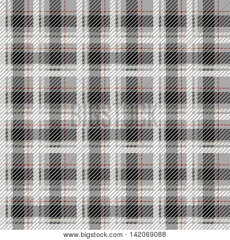 Black and white seamless tartan with a thin red stripe. Vector illustration.