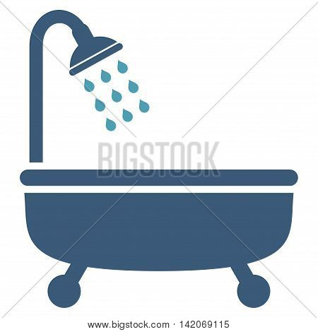 Shower Bath vector icon. Shower Bath icon symbol. Shower Bath icon image. Shower Bath icon picture. Shower Bath pictogram. Flat cyan and blue shower bath icon. Isolated shower bath icon graphic.