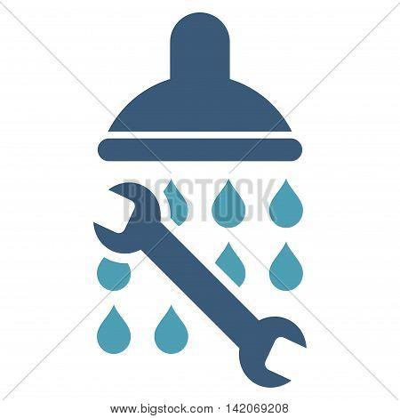 Shower Plumbing vector icon. Shower Plumbing icon symbol. Shower Plumbing icon image. Shower Plumbing icon picture. Shower Plumbing pictogram. Flat cyan and blue shower plumbing icon.