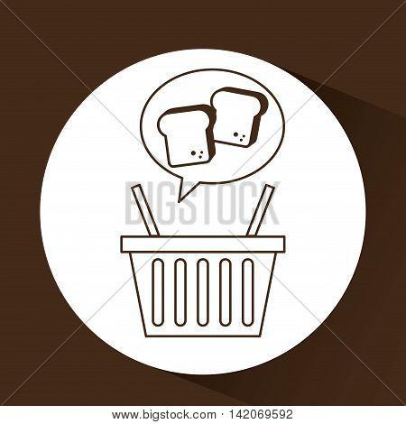chopped bread basket fresh produce bakery illustration