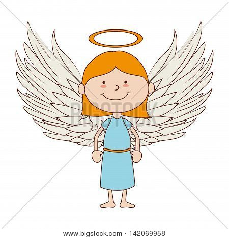 angel heavenly saint smiling hair face body happy child cute vector graphic isolated and flat illustration