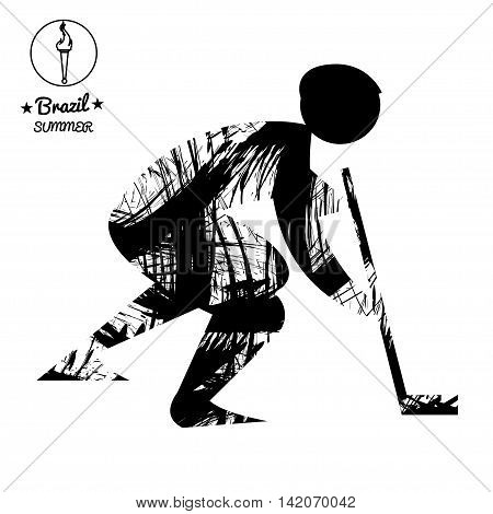 Brazil summer sport card with an abstract hockey player in black outlines. Digital vector image