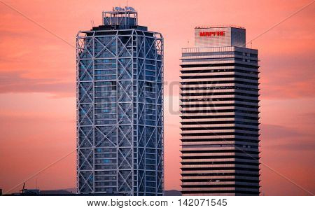 BARCELONA/SPAIN - 20 JUNE 2016: Luxury Hotel Arts skyscraper and Mapfre tower at sunset