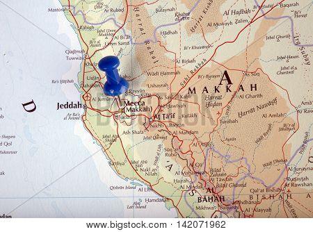 Mecca Saudi Arabiacity; illustrative; editorial; country; road; cartography; town; region;topography;pushpin;geography