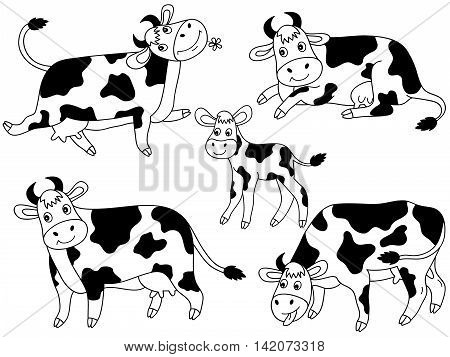 Black and white cartoon vector cows set