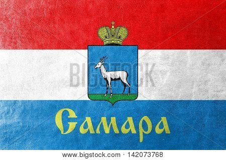 Flag Of Samara, Samara Oblast, Russia, Painted On Leather Texture