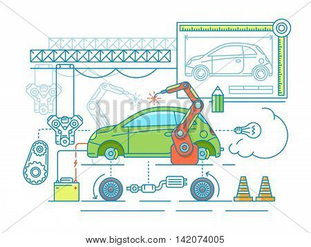 Vehicle assembling flat design. Car manufacturing, build according to the drawing. Vector illustration