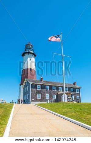 MONTAUK, LONG ISLAND, US, JUNE 18, 2016: Montauk Point Lighthouse