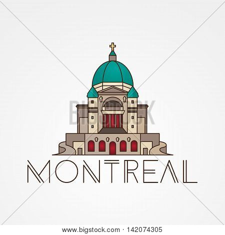 Saint Joseph Oratory in Montreal Canada. Modern linear icon. One line sightseeing concept