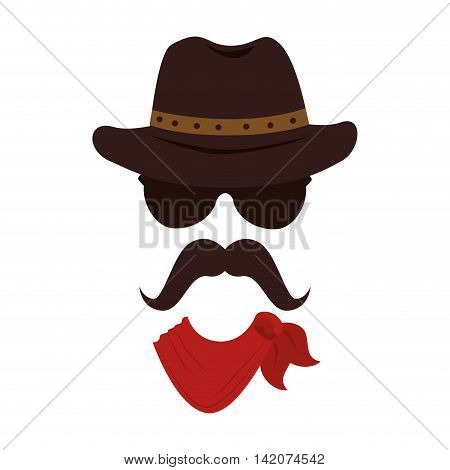 man hat mustache face cowboy male guy vector graphic isolated and flat illustration