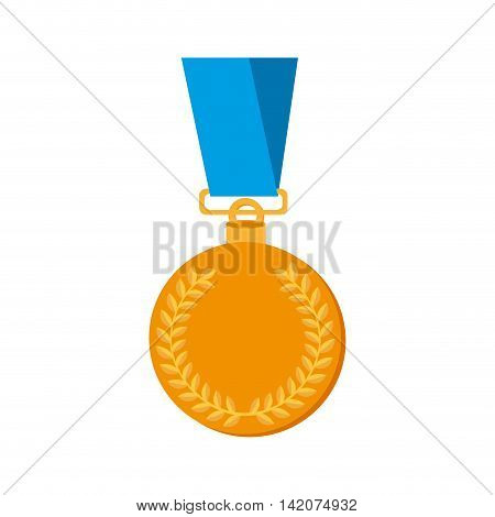 medal gold achievement award prize winner champion coin laurel vector graphic isolated and flat illustration