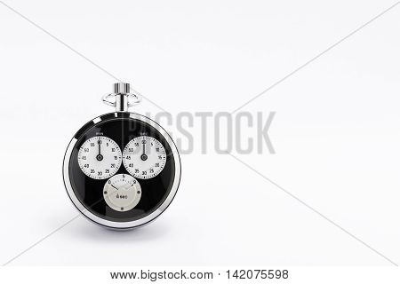An old black and chrome chronometer perfectly working on a white background