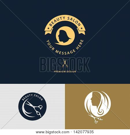 Vector illustration of Beauty salon logo. Creative woman's face hair tape and scissors. Abstract design template for beauty salon barber massage cosmetic and spa. Vector illustration