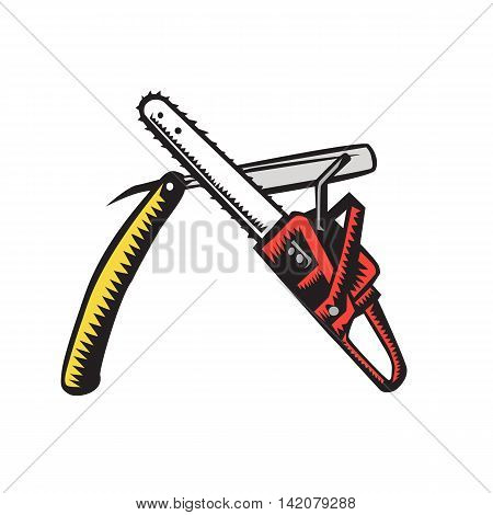 Illustration of a chainsaw crossed with a straight razor set on isolated white background done in retro woodcut style.