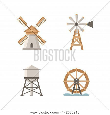 Icons flat mills. Set of vector icons mills and water tower. Buildings on the farm