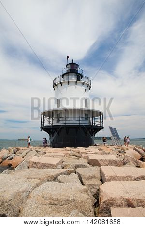 PORTLAND MAINE - JULY 5 2016: Portland Breakwater Lighthouse (Bug Light) is a small lighthouse at the south Portland Bay Portland Maine USA.It was built in 1875 and is one of Maine's most elegant lighthouses.