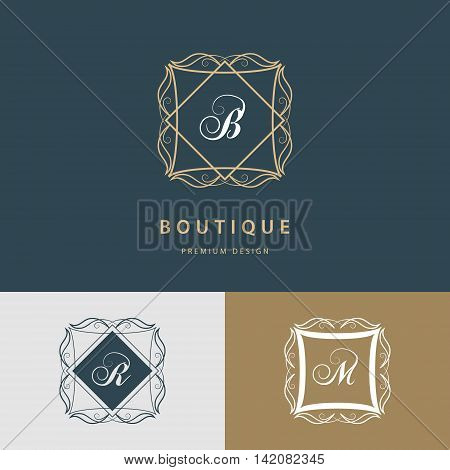 Vector illustration of Line graphics monogram. Royal art logo design. Letter B R M. Graceful template. Business sign identity for Restaurant Royalty Boutique Cafe Hotel Heraldic Jewelry Fashion