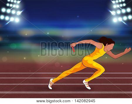 Illustration of female relay runner on running track in spotlight for Sports concept.
