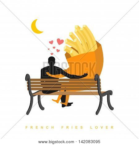 Lover French Fries. Fastfood And People Are Looking At Moon. Date Night. Man And A Meal Sitting On B