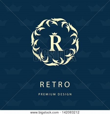 Vector illustration of Luxury Vintage logo. Business sign label Letter emblem R for badge crest Restaurant Royalty Boutique brand Hotel Heraldic Jewelery Fashion Real estate Resort tattoo Auctions