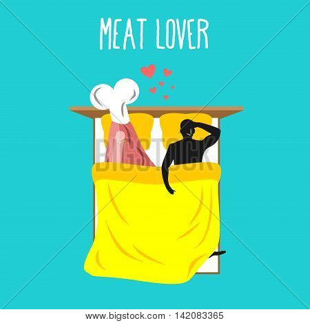 Meat Lovers. Love For Ham. Pork And Man. Food Lovers In Bed Top View. Man And Beef Lie In Bed. Smoki
