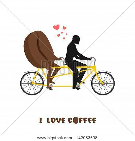 Coffee Lovers. Coffee Beans On Bicycle. Lovers Of Cycling Tandem. Romantic Date. Romantic Illustrati