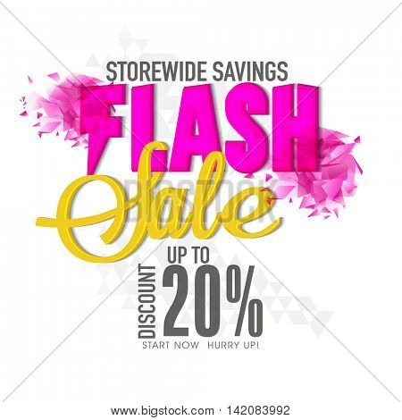 Flash Sale with Discount upto 20%, Creative Poster, Banner or Flyer with abstract design, Vector illustration.