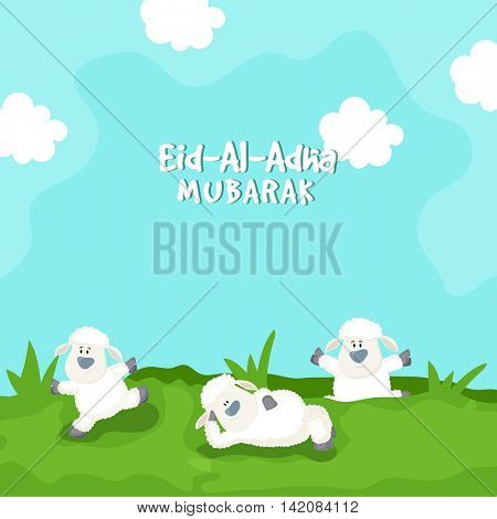 Funny cartoon of cute Baby Sheeps on nature background for Muslim Community, Festival of Sacrifice, Eid-Al-Adha Mubarak.