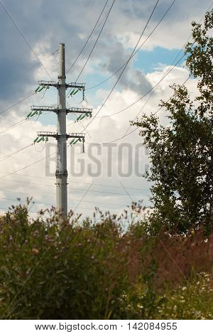 Power line is a structure used in electric power transmission and distribution to transmit electrical energy along large distances, consists of conductors suspended by towers or poles.
