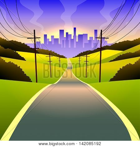 vector illustration of a landscape with a road to the city
