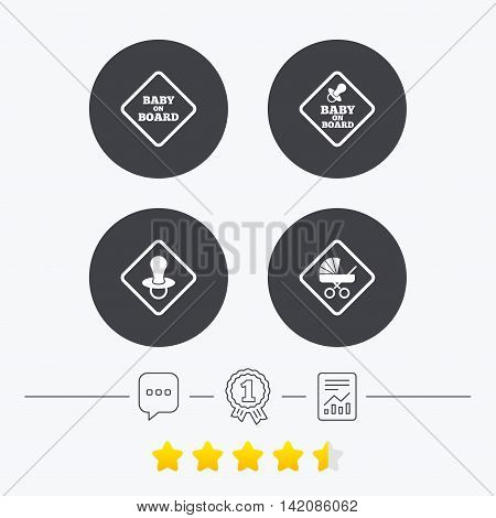 Baby on board icons. Infant caution signs. Child buggy carriage symbol. Chat, award medal and report linear icons. Star vote ranking. Vector