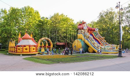 St. Petersburg, Russia - 24 May, Inflatable slides for children, 24 May, 2016. Amusement park