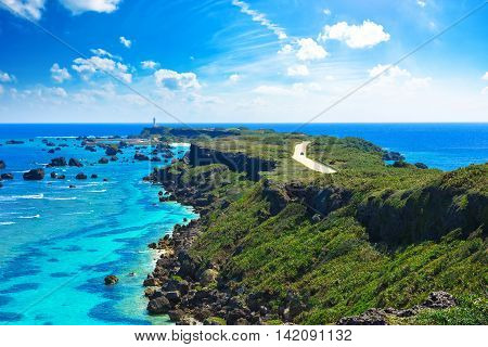 Beautiful landscapes of Higasihennazaki Okinawa Miyakojima in Japan
