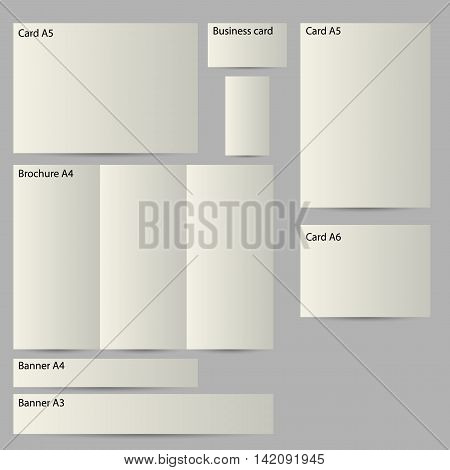 realistic 3d paper templates fof cards brochures buisness cards