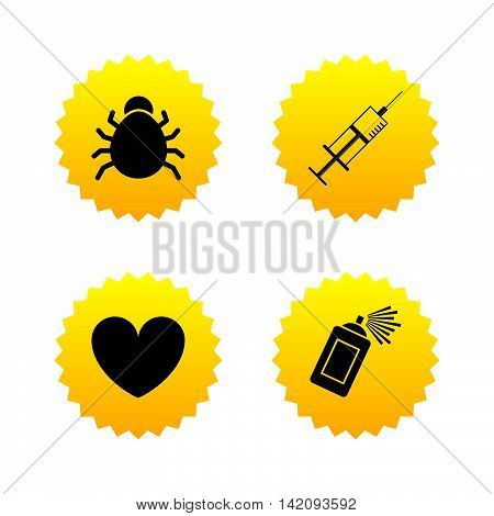 Bug and vaccine syringe injection icons. Heart and spray can sign symbols. Yellow stars labels with flat icons. Vector